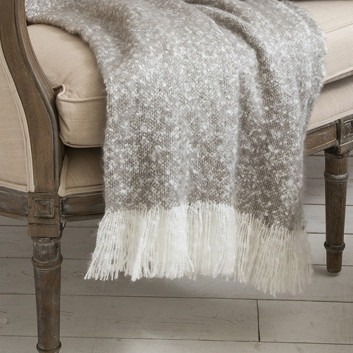 Chic Faux Mohair Throw Taupe