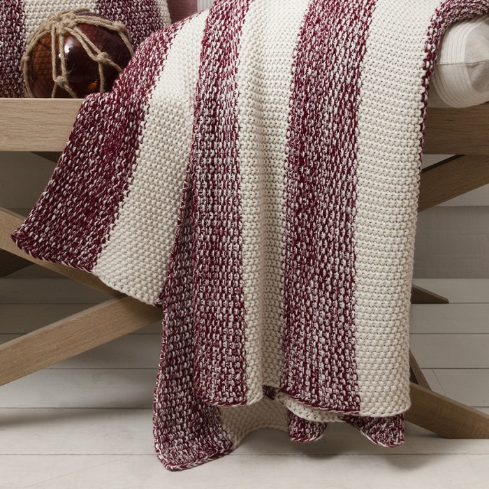 Coastal Stripe Throw Red And Cream