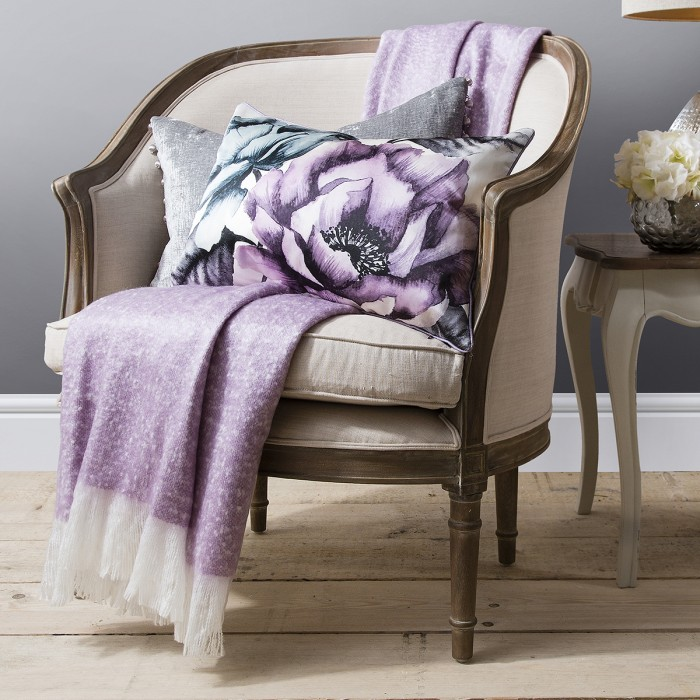 Chic Faux Mohair Throw Heather
