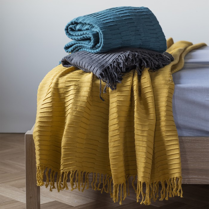 Linear Pleat Throw Charcoal