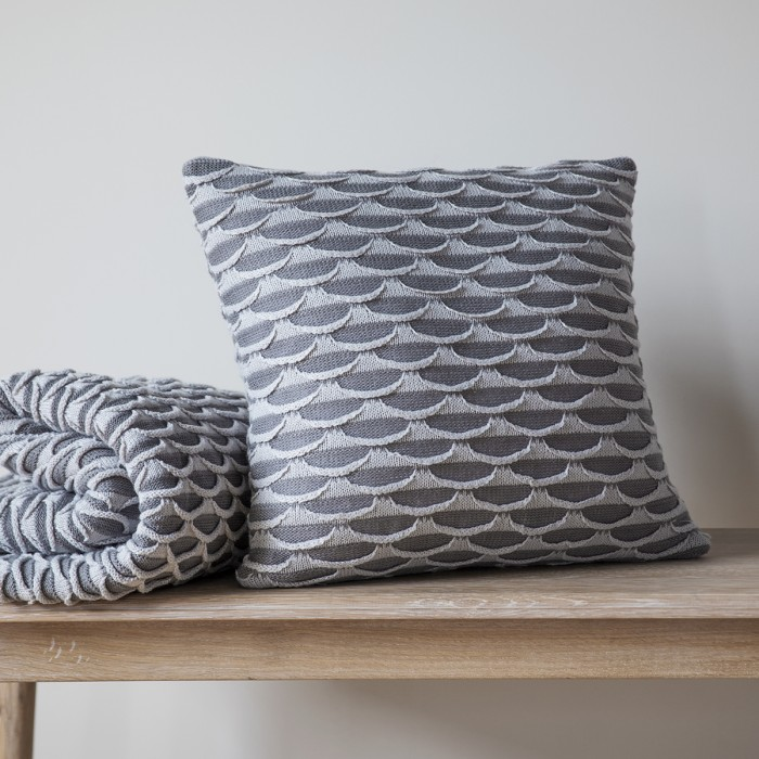 Arcos Knitted Cushion Grey
