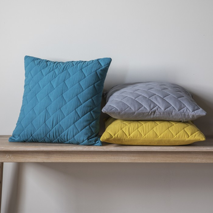 Bricks Quilted Cushion Chartreuse