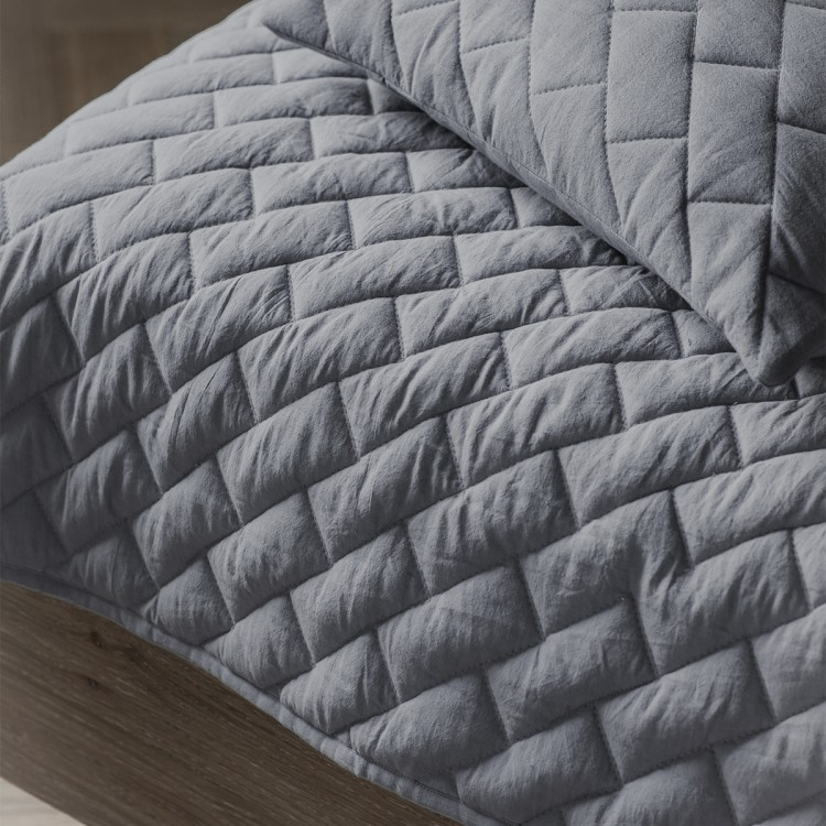 Bricks Quilted Throw Grey