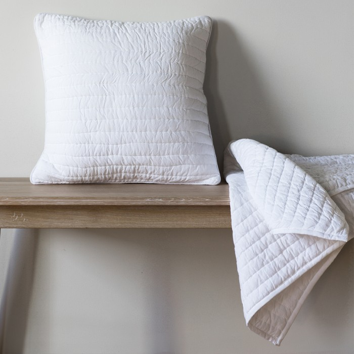 Linear Quilted Cushion White