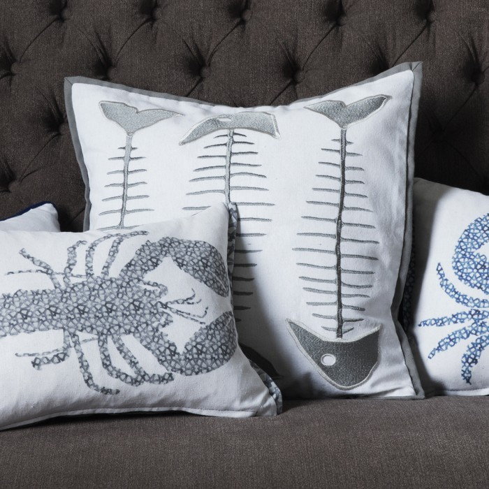 Fishbone Embroidered Cushion Grey