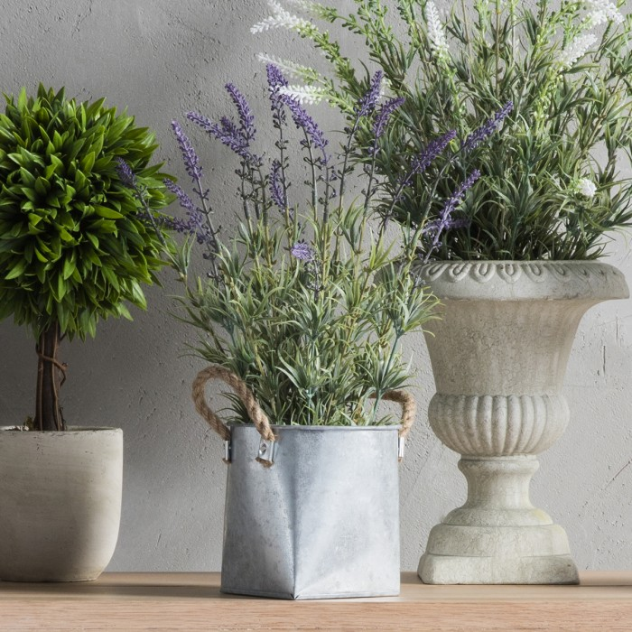 Faux Lavender With Galvanised Trug