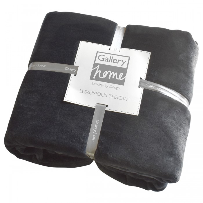 Flannel Fleece Throw Charcoal