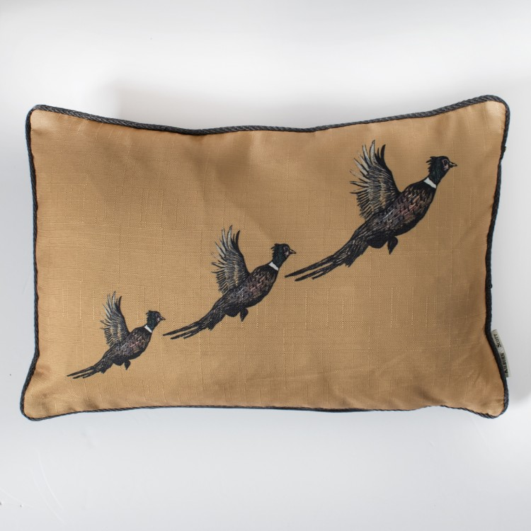 Flying Pheasants Cushion Ochre