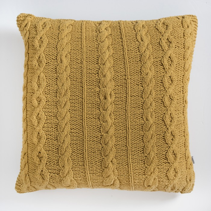 Walton Cable Knit Cushion Ochre