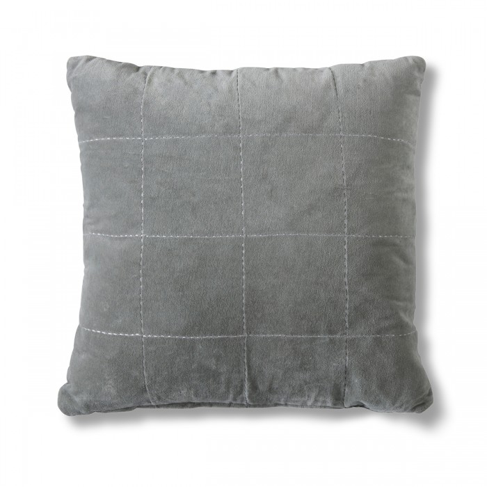 Kirkby Stabstitch Velvet Cushion Grey