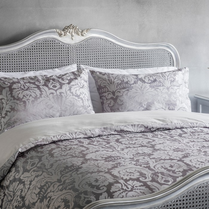 Glamour Jaquard Quilt Cover Set Grey Queen