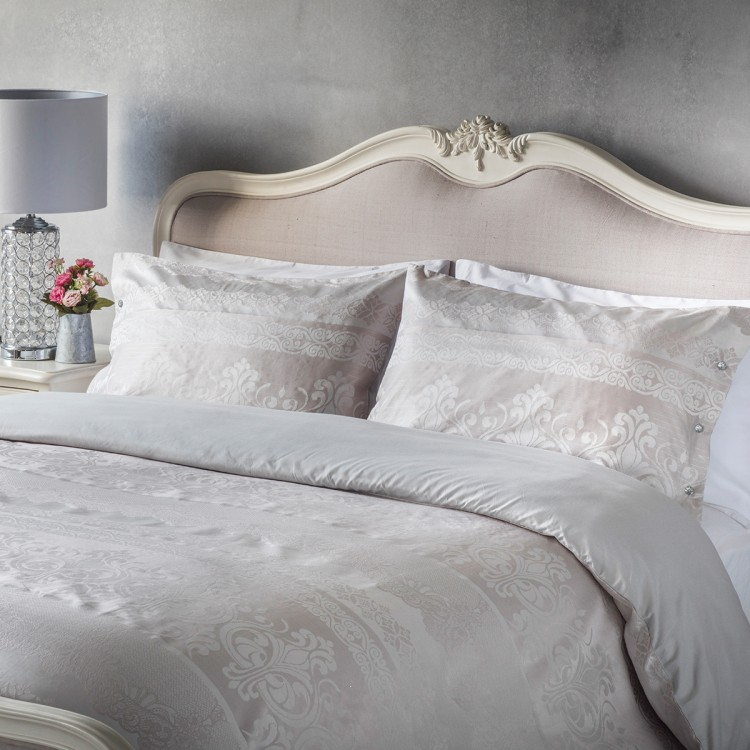 Elegance Jaquard Quilt Cover Set Champagne Queen