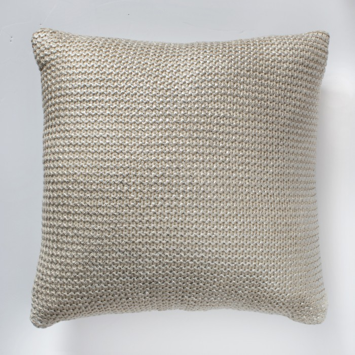 Galena Metallic Knitted Cushion Silver