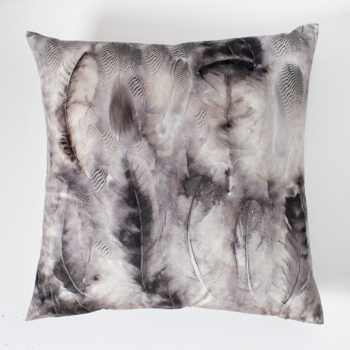 Distressed Feather Printed Cushion