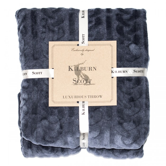 Burn Out Cable Flannel Throw Inky Blue