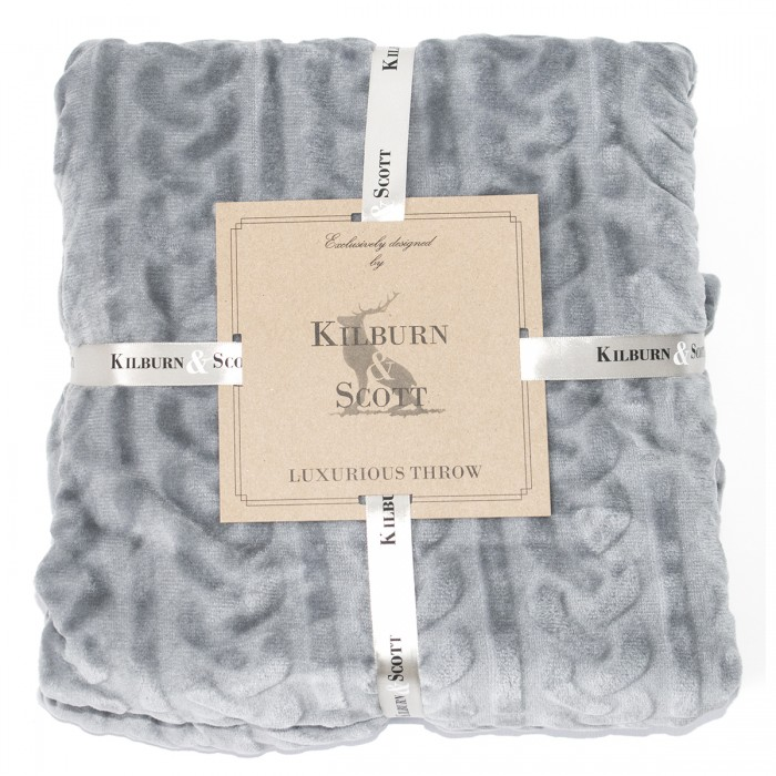 Burn Out Cable Flannel Throw Grey