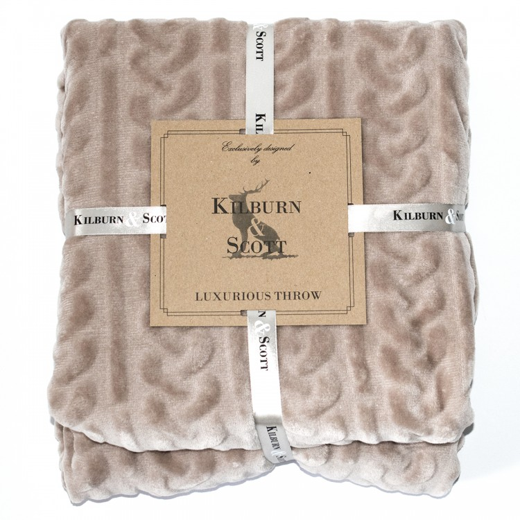 Burn Out Cable Flannel Throw Natural