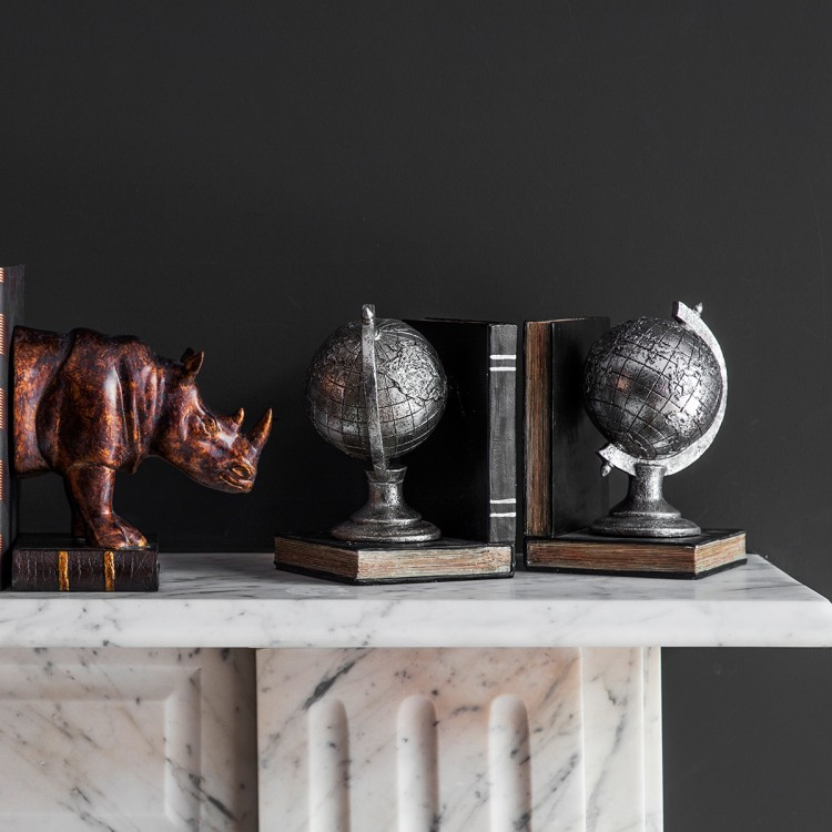 Atlas Pair of Globe Bookends