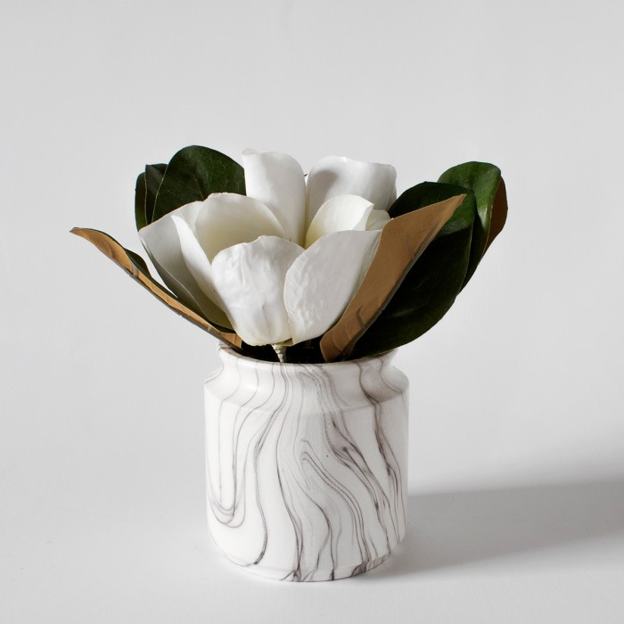 Faux Kapok in Faux Marble Jar (4pk)