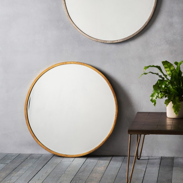 Higgins Round Mirror Antique Gold