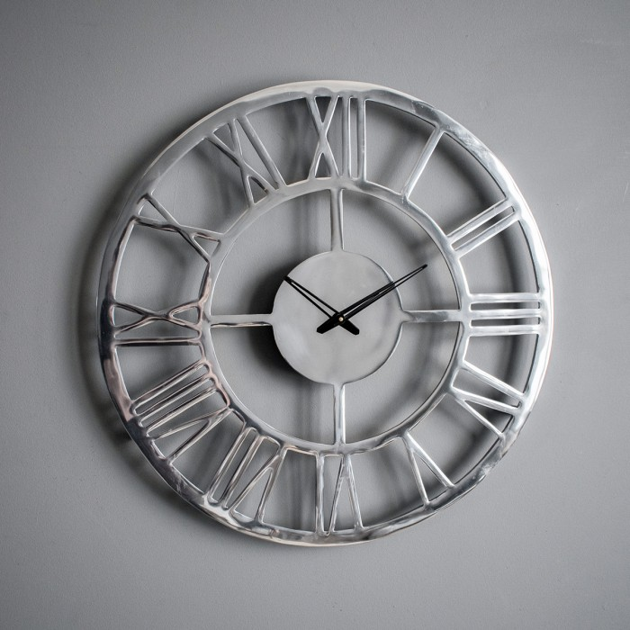 Pavia Large Wall Clock Polished Aluminium