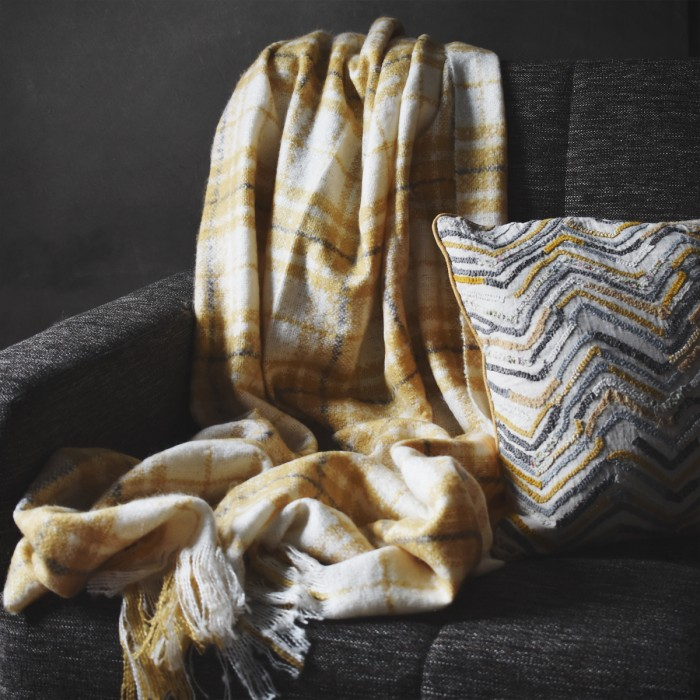 Check Mohair Throw Ochre