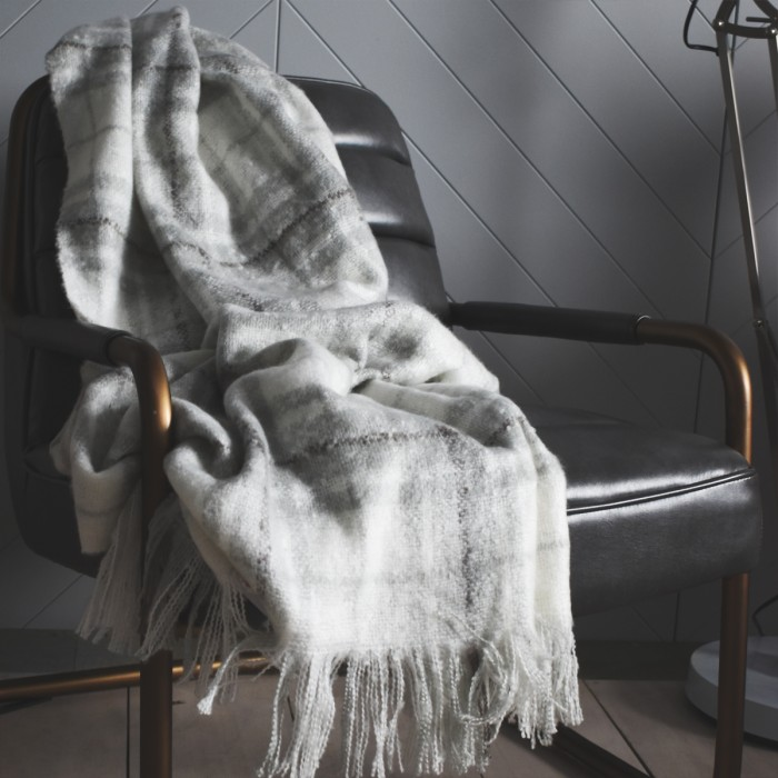 Check Mohair Throw Grey