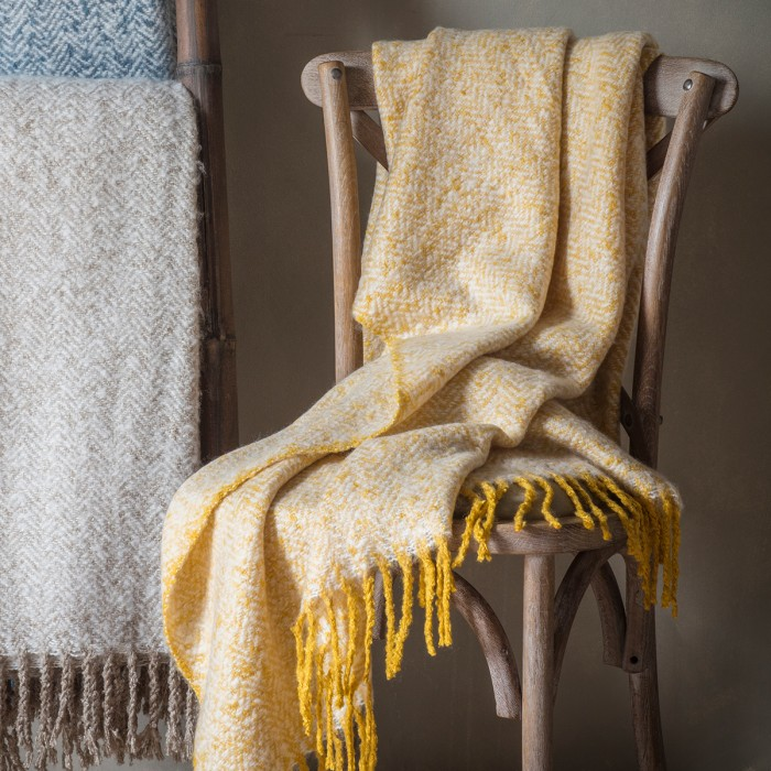 Herringbone Mohair Throw Ochre