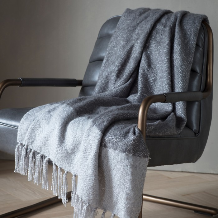 Tonal Mohair Throw Slate & Silver