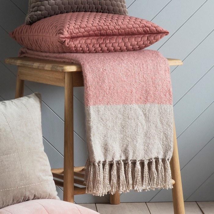 Tonal Mohair Throw Blush & Silver