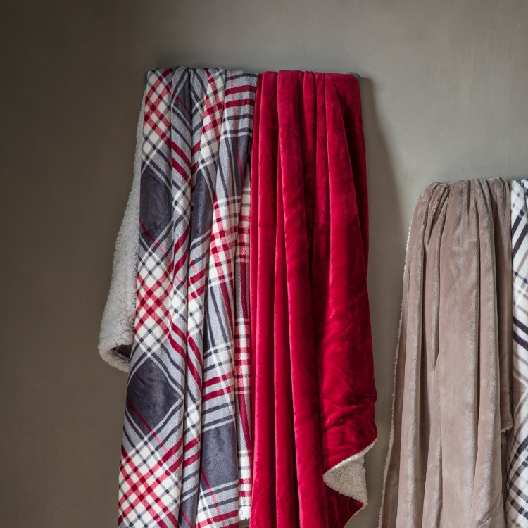 Check Sherpa Throw Grey & Red