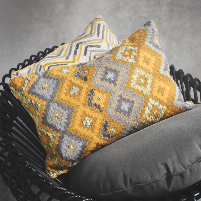 Aztex Hand Embroidered Cushion Ochre