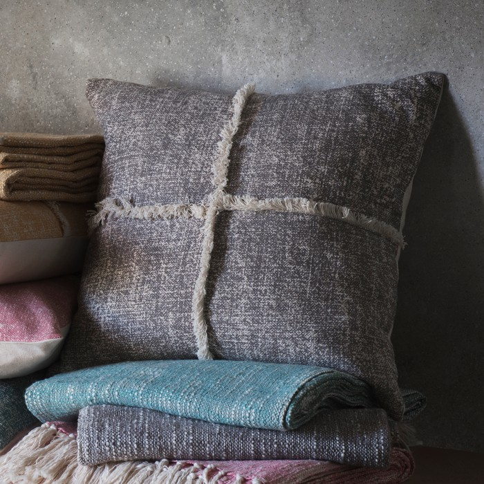 Patna Fringe Cushion Grey