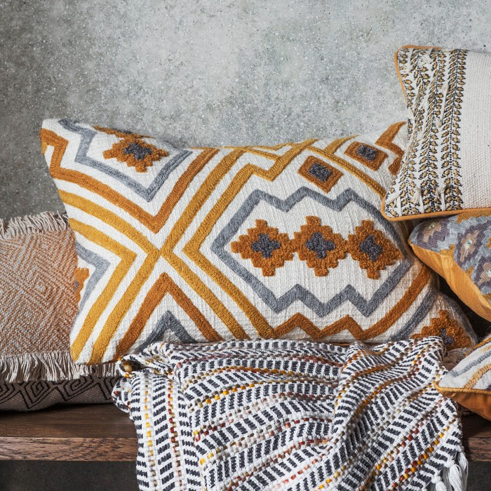 Kazaar Hand Embroidered Cushion Ochre