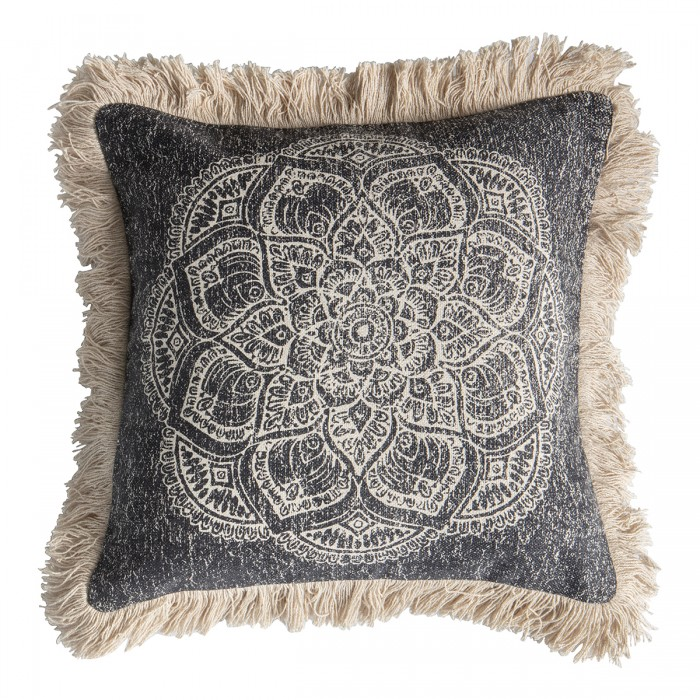 Barranco Medallion Fringed Cushion Black