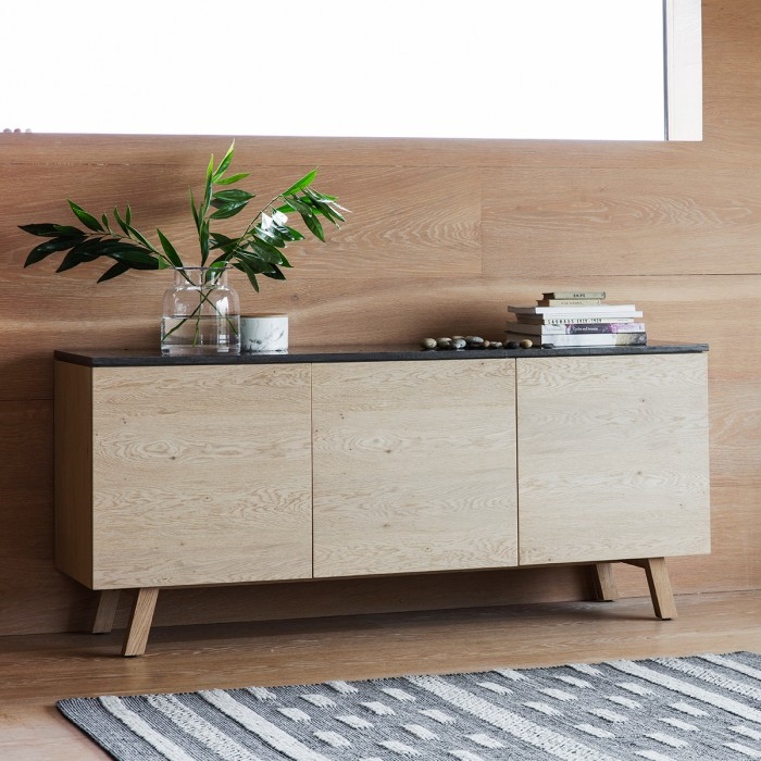 Brixton Burnished 3 Door / 1 Drawer Sideboard