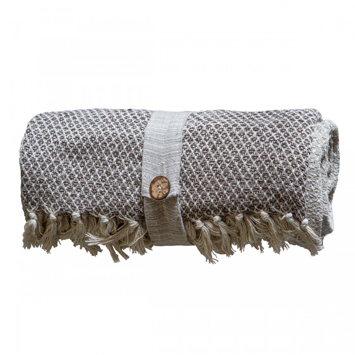 Cotton Diamond Throw Natural