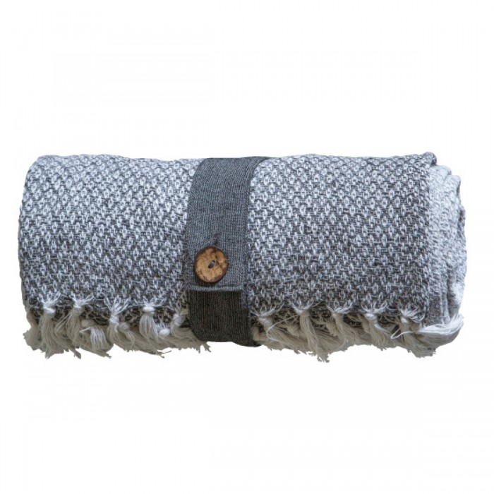 Cotton Diamond Throw Grey