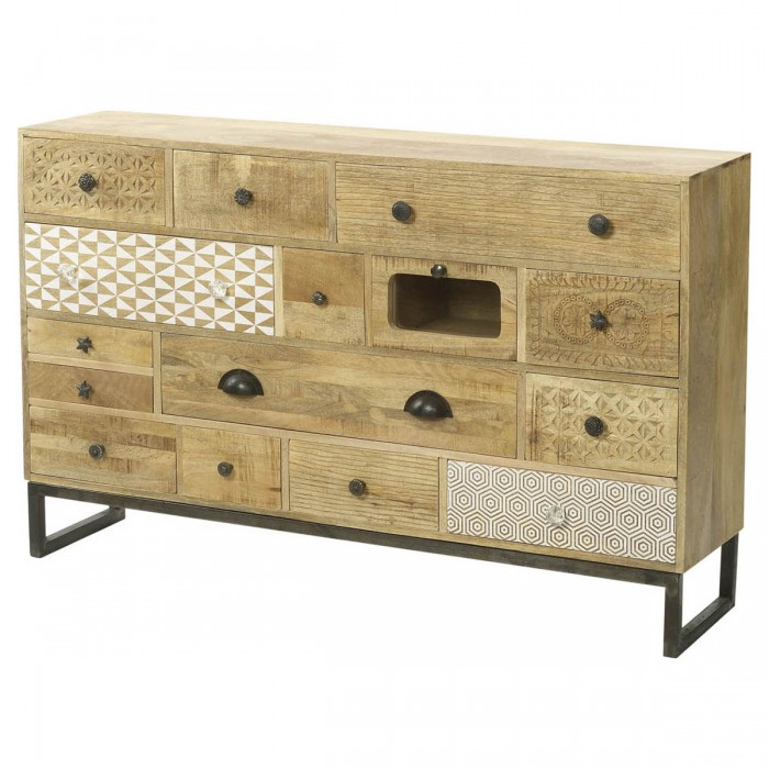 Boho 15 Drawer Natural Wood