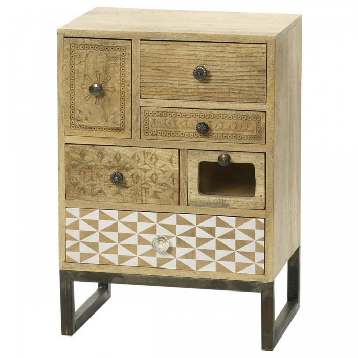 Boho 6 Drawer Natural Wood