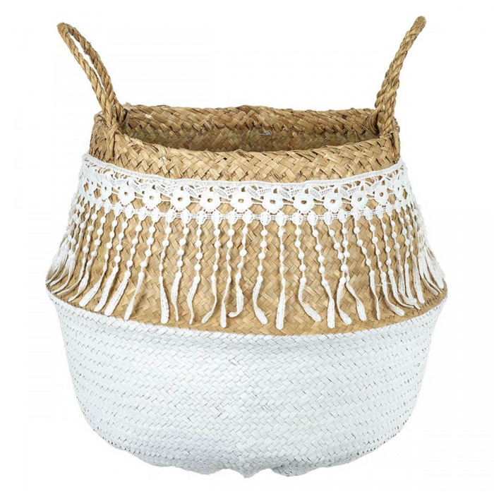 Lacy Seagrass Basket Natural & White