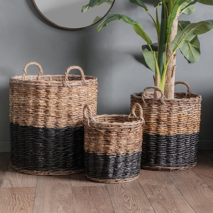 Ramon Baskets Black and Natural (Set of 3)