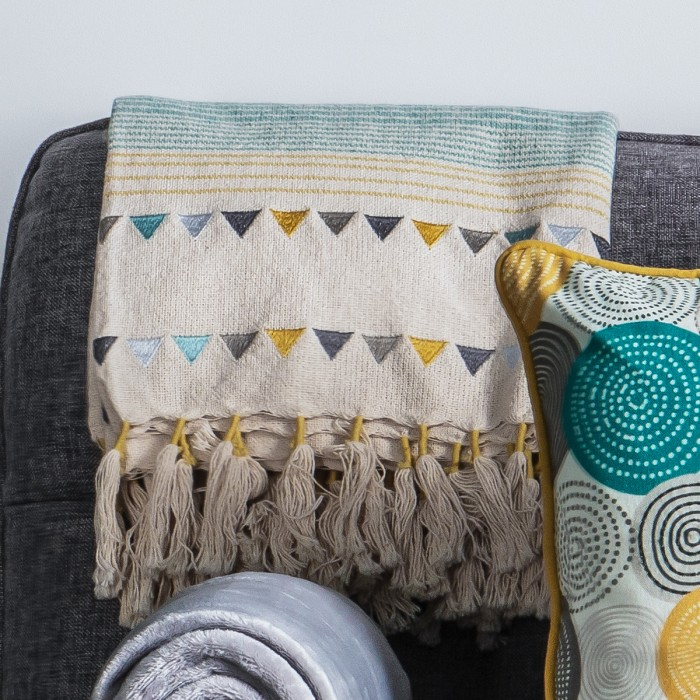 Gala Throw Teal & Ochre