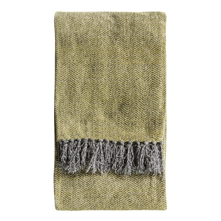 Chenille Herringbone Throw Ochre