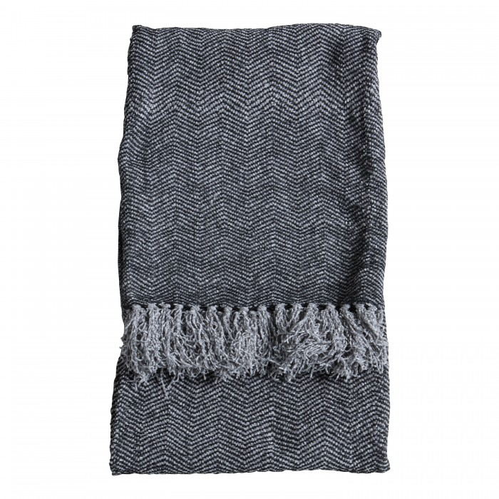 Chenille Herringbone Throw Grey