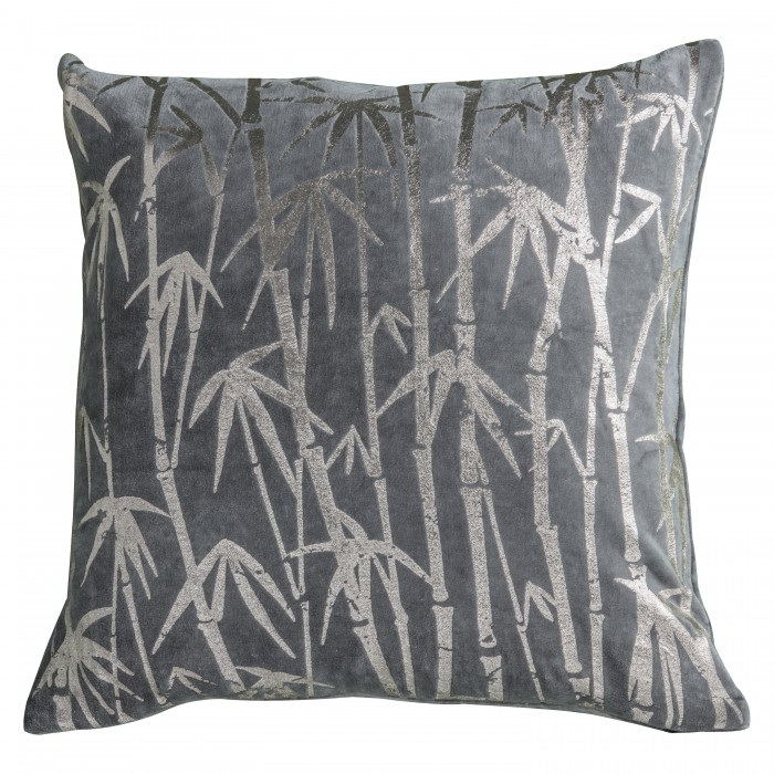 Bamboo Palm Metallic Cushion Grey
