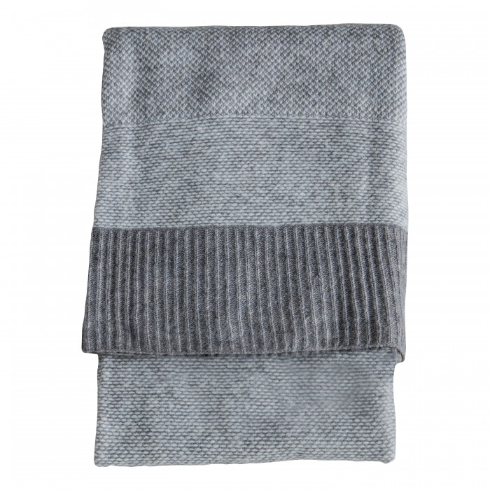 Knitted 2 Tone Throw Grey