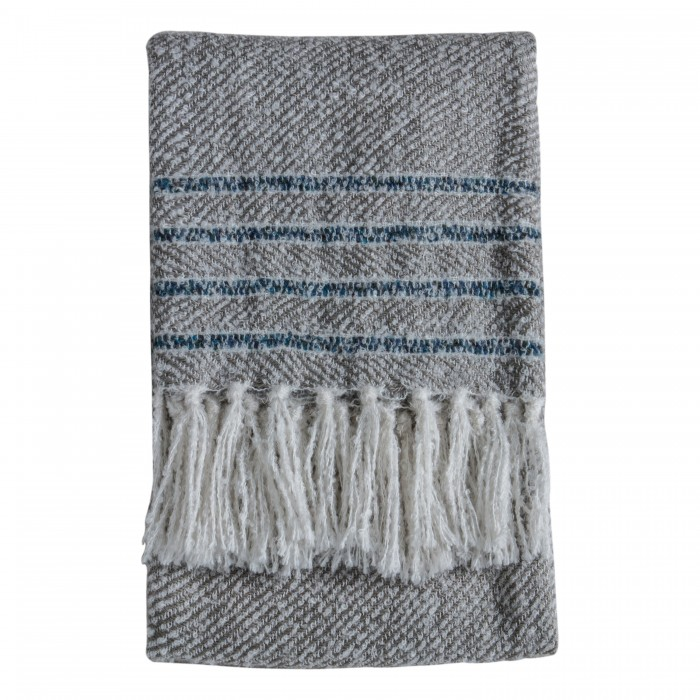 Border Stripe Throw Grey