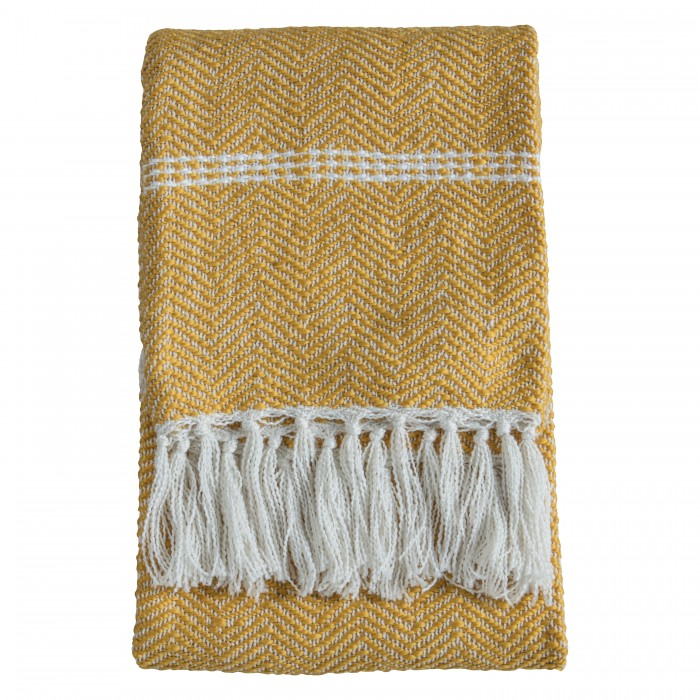 Faux Mohair Chevron Throw Ochre