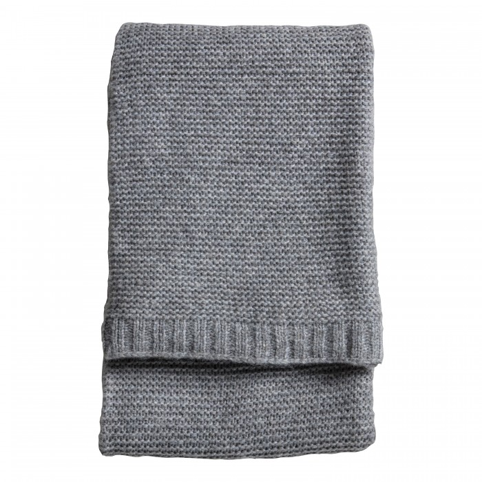Chunky Knitted Throw Grey